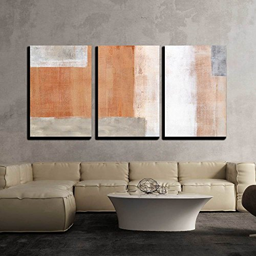 Grey and Brown Abstract Art Painting x3 Panels