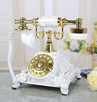 FACAI666 Europäisches Wohnzimmer Antikes Telefon Haus Schlafzimmer Retro  Feste Telefon Mode Wählscheibe , White , #