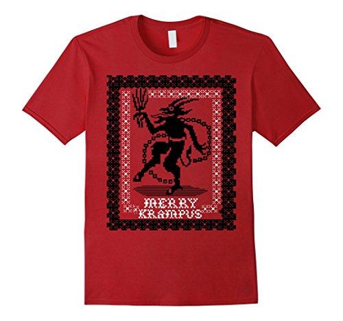 Mens Merry Krampus ugly sweater T shirt Medium Cranberry