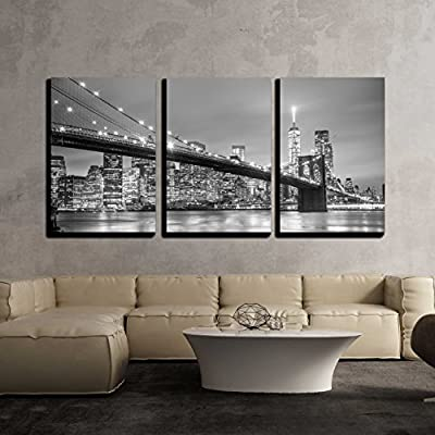 York City Downtown Skyline - Canvas Art Wall Decor-16 x24 x3 Panels