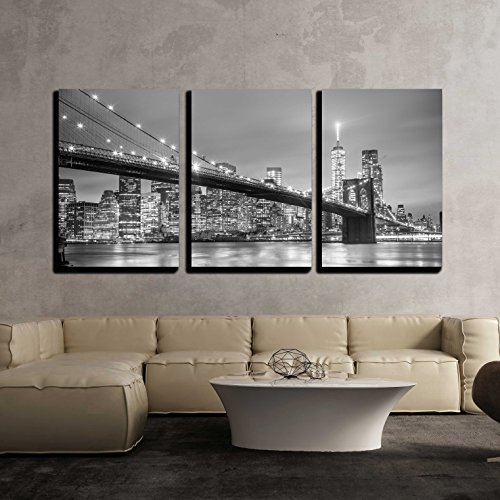 Brooklyn Bridge and New York City Manhattan Downtown Skyline at Dusk with Skyscrapers x3 Panels