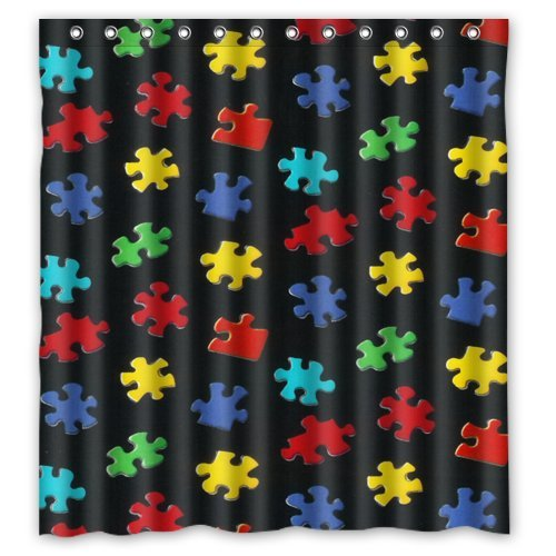 Colorful Autism Awareness Puzzle Piece Waterproof Bathroom Shower Curtain 66