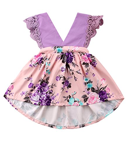 0-6 Years Big Sister Little Sister Ruffle Floral Jumpsuit Romper Dress Lace Outfits (Big Sis(Dress), 1-2 Years)
