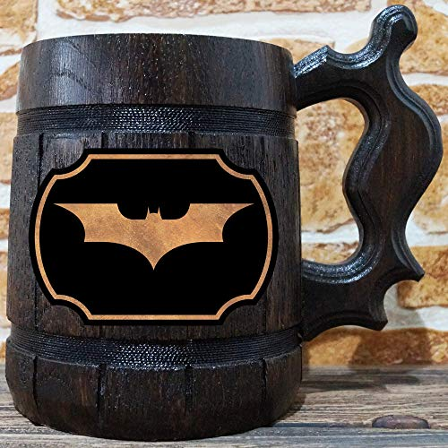 Batman Beer Mug, Arkham Asylum Wooden Beer Stein, Geek Gift, Personalized Beer Stein, Dark Knight Tankard, Custom Gift for Men, Gift for Him