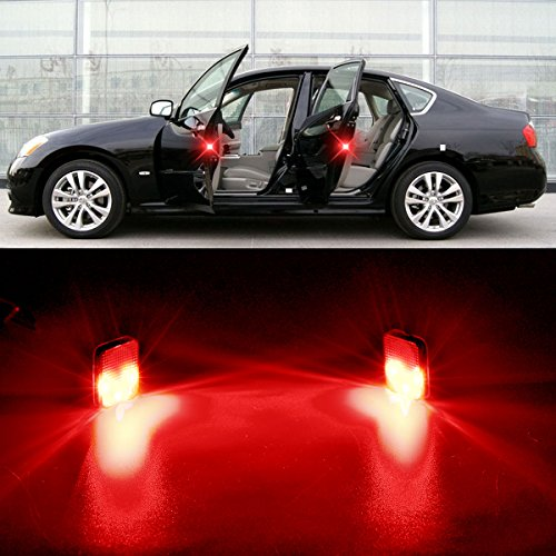 Door Safety Warning Light, Anti-Collision Reflector Strobe Flicker Indicator Lamp,(Red Square) Pack of 2 ()