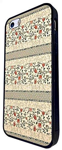 1378 - Cool Fun Trendy Cute Kawaii Shabby Chic Wallpaper Flowers Design iphone SE - 2016 Coque Fashion Trend Case Coque Protection Cover plastique et métal - Noir