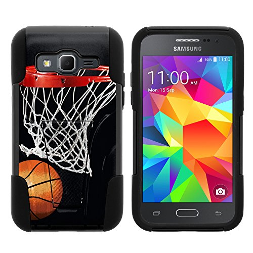 Samsung Core Prime Case, Dual Armor Fusion STRIKE Impact Kickstand Case with Unique Designs for Samsung Galaxy Core Prime G360, Samsung Galaxy Prevail LTE (Verizon, Sprint, Boost Mobile) from MINITURTLE | Includes Clear Screen Protector and Stylus Pen - Basketball Swish (Boost Mobile Galaxy Core compare prices)