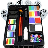 Face Paint Kit for Kids by Kryvaline Professionals for The Most Current Face Painting Techniques & Biodegradable Glitters in Spill Proof Bottle Plus 30 Pieces Skin Jewels
