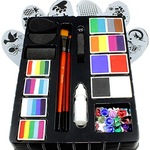 Transformation Station - Face Paint Kit for Kids by Kryvaline Professionals with Stencils, Brushes and Biodegradable Glitters in Spill Proof Bottle Plus Skin Jewels