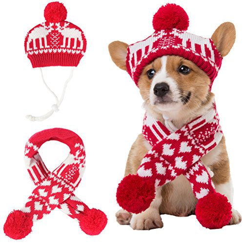 BINGPET Pet Christmas Costume Xmas Reindeer Scarf and Hat Set Party Accessories Knit for Pet from Small to Large