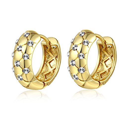 Jonline24h Luxury Girl Ladys Womens Copper 18ct Yellow Gold Plated Jewelry Crystal Wedding Hoop Earrings Gift New