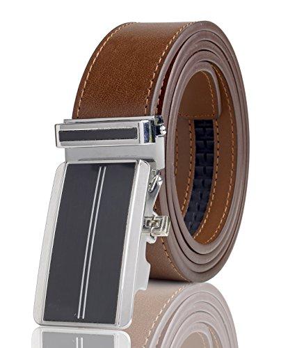 Snake Designer Belt (Cremson Men Gift Genuine Leather Metal Automatic Buckle Track Ratchet Dress Belt - Simple Black Automatic Buckle/Copper)