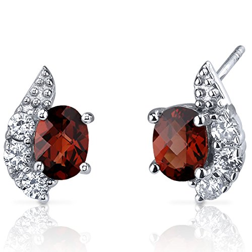 Sparkling Wave 2.00 Carats Garnet Oval Cut Earrings Sterling Silver Rhodium Nickel Finish
