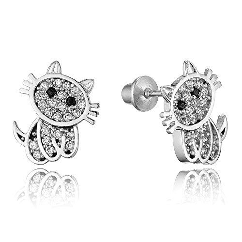 925 Sterling Silver Rhodium Plated Cat Cubic Zirconia Screwback Baby Girls Earrings