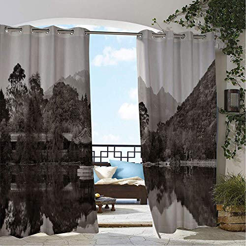 Patio Waterproof Curtain Landscape Black Dragon Pool in China Historical and Old Times Vintage Reflection Taupe and Pale Tan Porch Grommets Cabana Curtains 108 by 108 inch