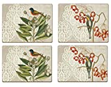 Cala Home 4 Premium Hardboard Placemats Table Mats, Catesby Bird Collage