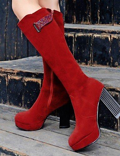 Uk6 5 Redonda Tacón De Uk3 us5 Mujer Rojo Eu36 Marrón Brown Cn40 Ante 5 us8 Black 5 Eu39 Xzz Negro Sintético Zapatos A Cn Moda Punta 5 Vestido Cn35 Botas Robusto La Ywt1nHqx