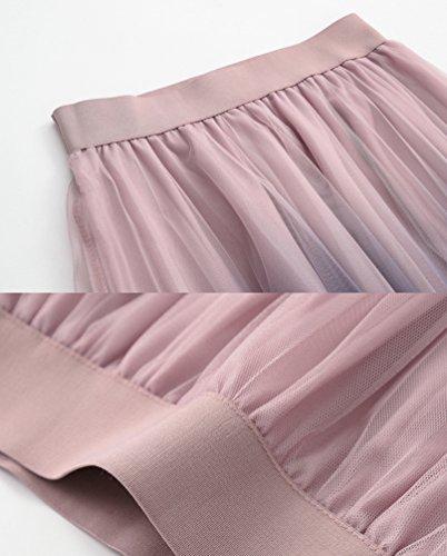 Femme Plage Yiiquanan Dt Design Taille Plisse Jupe Gradient Longue Jupes Mi Vintage Midi Beach lastique Rose Couleur EAq7UAxwR
