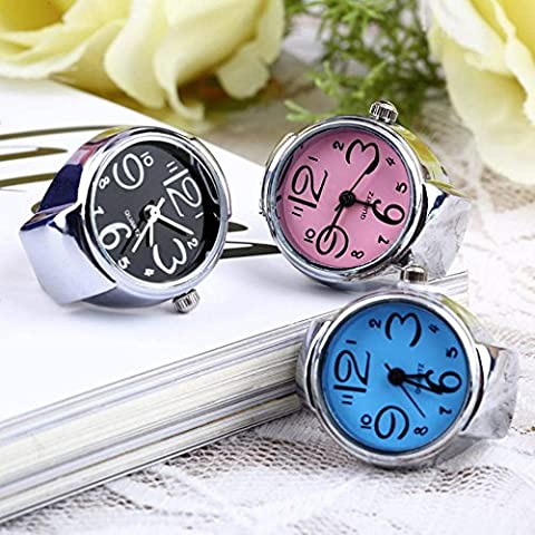 Coolrunner 3pc Creative Fashion Jewelry Lady Girl Steel Round Elastic Quartz Finger Ring watcht (Watch Strap Ring)