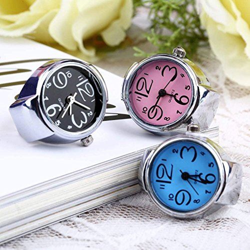 Coolrunner 3pc Creative Fashion Jewelry Lady Girl Steel Round Elastic Quartz Finger Ring watcht