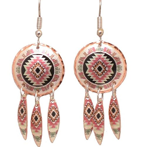 Copper Earrings Southwest hopi Design with Dangles Native American Pattern