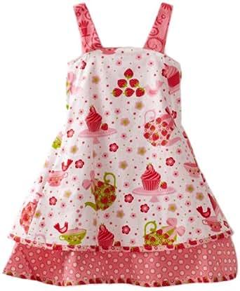 Jelly The Pug Little Girls' Cake Patty Dress, White/Pink, 3T