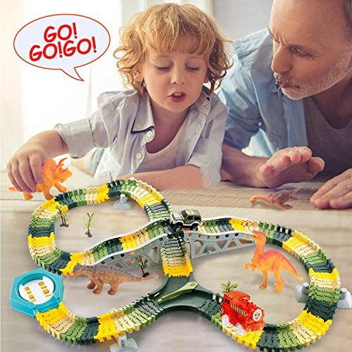 HOMOFY 192 Pcs Dinosaur Toys Race Car Flexible Track Sets, 1 Turntable, 2 Slopes, 12 Mini Dinosaurs, 1 Trains 1 Car, Play Set Toys for 3 4 5 6 7 Years Old Girls Boys Kids Toddlers Gifts