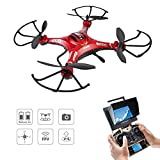 Drone with Camera, Potensic Upgraded F183D RTF Drone with New Altitude Hold, Auto Hovering Function , 2MP Camera& 5.8Ghz FPV LCD Screen Monitor(Red) …