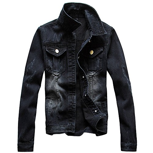 Zicac Men's Casual Denim Jacket Military Slim Fit Driver Button Coat(M(Asia Tag XXL), Black) Button Denim Jacket