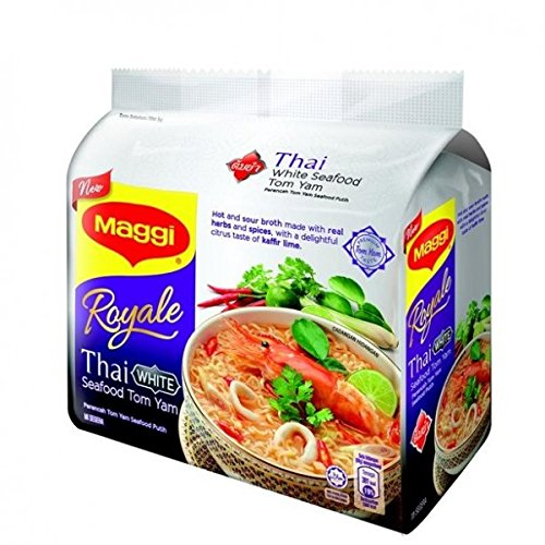 Maggi Royale Thai White Seafood Tom Yam/Hot & Sour Broth With Real Herbs & Spices/Delightful Citrus Taste Of Kafir Lime Topped With Spring Onions, Chilies & Meat-Like Garnish/8 packets x 88g by Maggi
