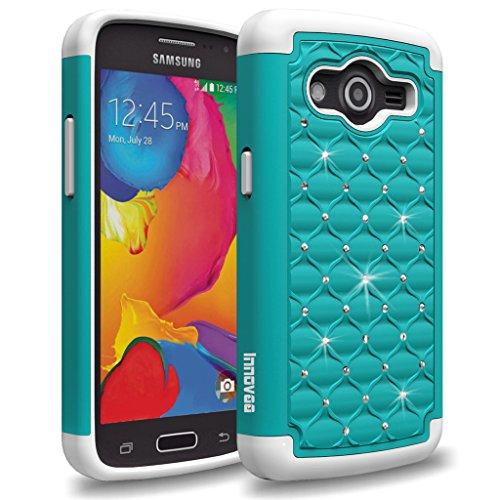 Samsung Galaxy Avant G386T / Galaxy Core LTE G3518 Case, INNOVAA Fashion Studded Rhinestone Armor Case W/ Free Screen Protector & Stylus Pen - Teal/White (Studded Samsung Avant Case)