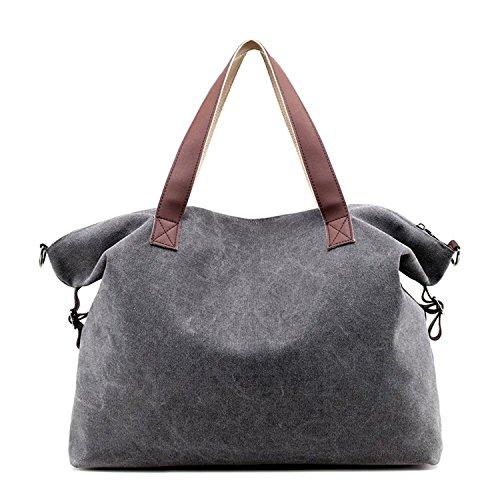 SODIAL Damen Handtaschen Schultertaschen Top Griff Strand Tote Handtasche Umhaengetasche (Braun) Grau