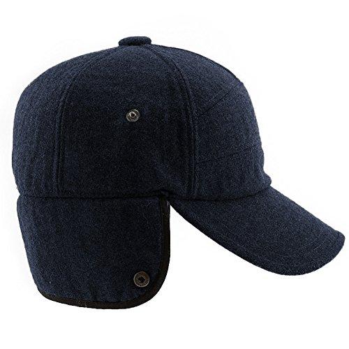 SIGGI Mens Winter Wool Baseball Cap Earflap Hat Faux Fur Ear - Import It All d3eca99bd069