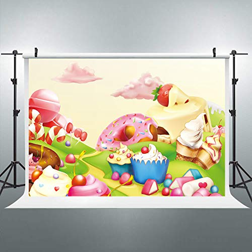 Riyidecor Sweet Doughnut Candyland Backdrop Cartoon Pink Cloud Kids Colorful ice Cream Photography Background 7x5ft Baby Shower Decoration Birthday Studio Party Photo Shoot Vinyl Cloth]()