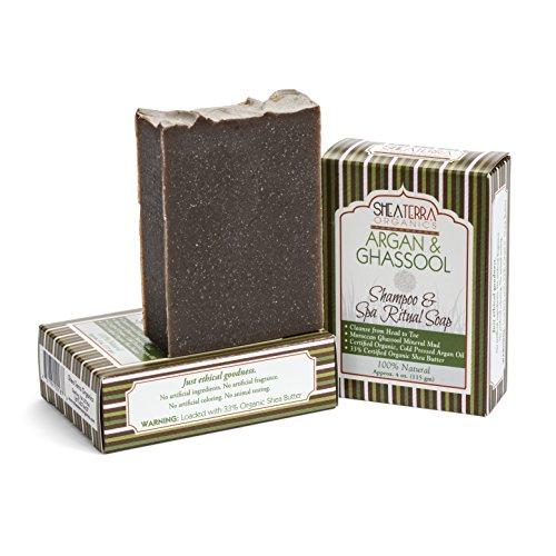 Shea Terra Organics Argan & Ghassoul Shampoo & Spa Ritual Soap | All-In One Hair & Body Bar | All Skin Types - 4 oz