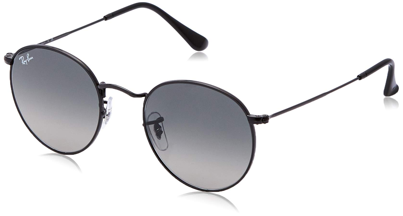 RAY-BAN RB3447N Round Flat Lenses Metal Sunglasses, Black/Grey Gradient, 50 mm by RAY-BAN