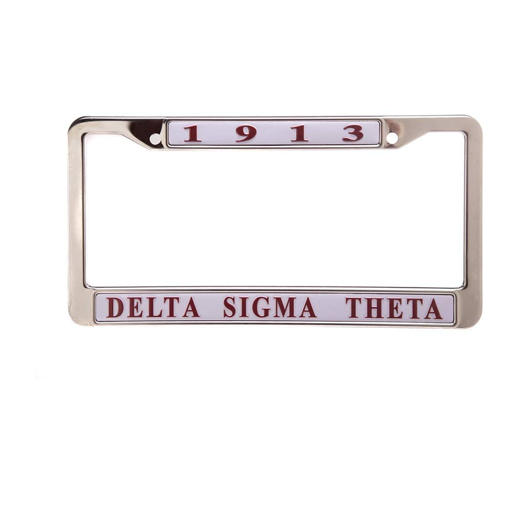 Delta Sigma Theta White Metal License Plate Frame
