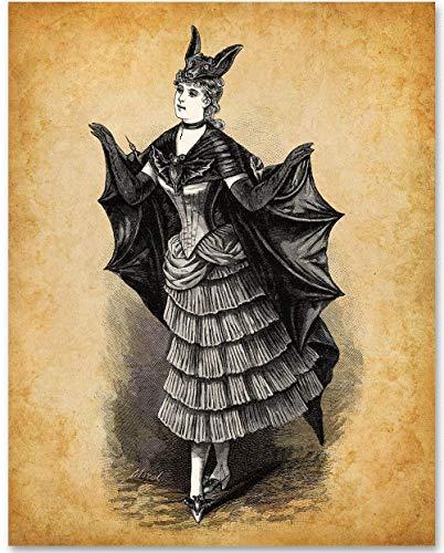 Victorian Bat Costume - 11x14 Unframed Bizarre Goth Art -