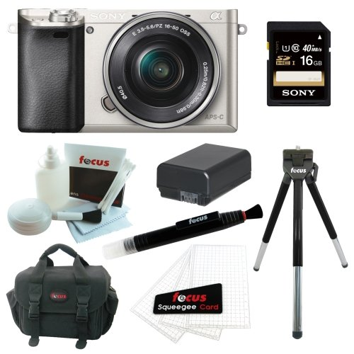 Sony Alpha a6000 24.3 MP Interchangeable Lens Camera with 16-50mm Power Zoom Lens (Silver) + Sony 16GB SD Card + Replacement NP-FW50 Battery for Sony + Accessory Kit Review