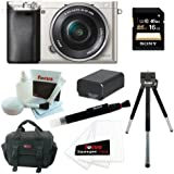 Sony Alpha a6000 24.3 MP Interchangeable Lens Camera with 16-50mm Power Zoom Lens (Silver) + Sony 16GB SD Card + Replacement NP-FW50 Battery for Sony + Accessory Kit