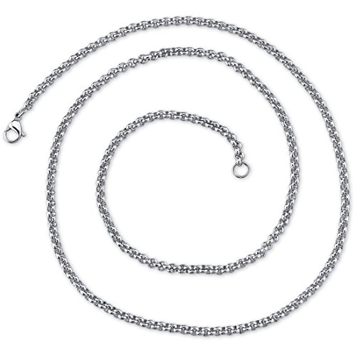 (Peora 22 inch 4mm Stainless Steel Rolo Chain Necklace available in 22, 24, 26, 30, and 36 inch length)