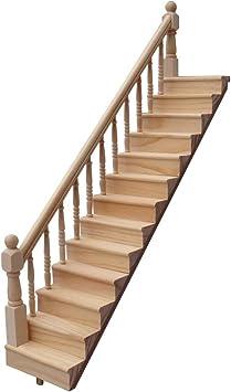 Amazon.es: Singeru 1:12 Casa de muñecas Escalera de Madera Casa de ...