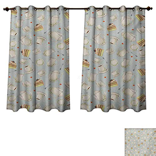 RuppertTextile Tea Party Blackout Thermal Backed Curtains for Living Room Coffee Pot Teapot Spoons Plates and Creamy Slices of Cake with Cherries Customized Curtains Bluegrey Red Green W72 x L63 - Cake Chintz Plate
