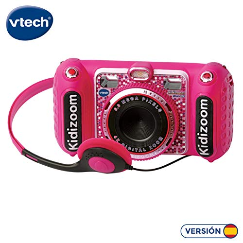 VTech- Kidizoom Duo DX Cámara Digital Para Niños, Color rosa (3480-520057)