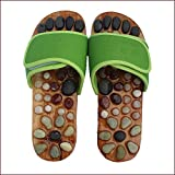 Reflexology Massage Shoes Acupressure Massage Non-Slip Sandals Natural Stone Acupuncture Acupoint Foot Massage Slippers for Men Women