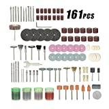 KKmoon 161pcs 1/8 Shank Rotary Tool Accessories Set Sanding Grinding Brushing Polishing Bits Accessory Kit with Storage Box for Dremel Grinder