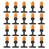 lasenersm 20 Pieces 1/4 Inch Orange Sprinkler Heads Nozzle and Tee Joints Fit 4mm/7mm Tube for Flower Bed Vegetable Garden Home & Garden Misting Watering Plant Flower Cooling System, Orange and Black