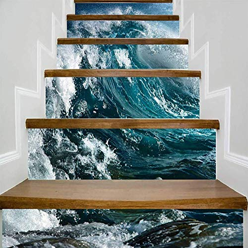 (FWSY Big Ocean Wave Self-Adhesive Stair Riser Decal - Stair Stickers Decals Wallpaper for Walls Kitchen Bathroom Stair Decals Home Decoration 6 Pcs 7