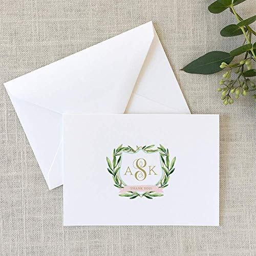 Monogrammed Crest Note Cards Personalized Stationary Set of 10 folded note cards and envelopes