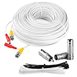 BNC 100 Feet Cable Security Camera Kit: All In One CCTV DVR Video & Power Flat Cable Set - DC Male, DC Female To BNC Electronics Adapter Accessories - MAXIMM